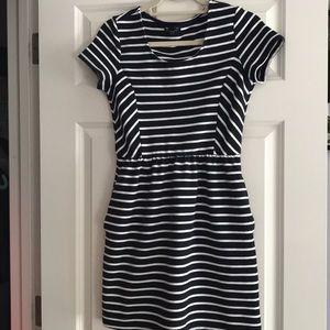 Gap navy blue striped dress with pockets